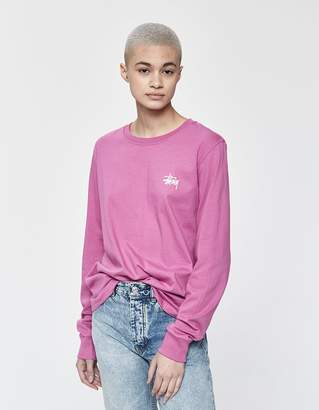 Stussy Basic Long Sleeve Tee in Berry