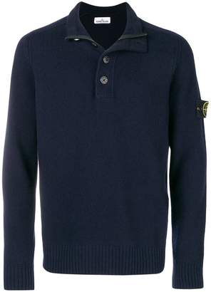 Stone Island button zip placket knitted jumper
