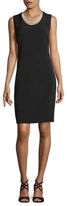 Karl Lagerfeld PARIS Pearl Neck Sleeveless Sheath Dress