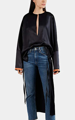 Loewe Women's Satin High-Low Tunic - Black