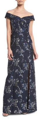 Aidan Mattox Off-the-Shoulder Brocade Gown