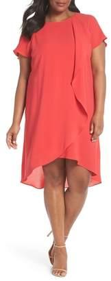 Adrianna Papell Crepe Ruffle Drape Shift Dress