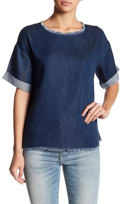 NATIVE YOUTH Denim Frayed Shirt