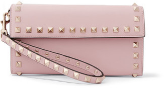 Valentino - The Rockstud Wristlet Leather Wallet - Baby pink $825 thestylecure.com