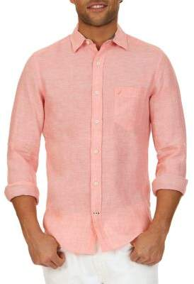 Nautica Slim-Fit Linen Button-Down Shirt