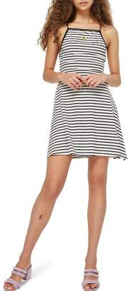 Topshop Striped Motif Skater Dress