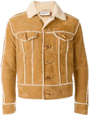 Saint Laurent shearling-trim fitted jacket