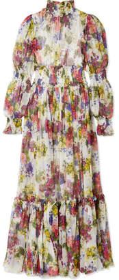 Dolce & Gabbana Smocked Floral-print Silk-chiffon Maxi Dress - Ivory