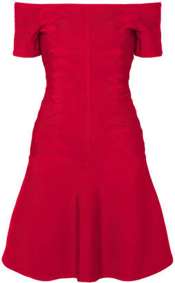 Herve Leger Off-the-shoulder Bandage Mini Dress - Red