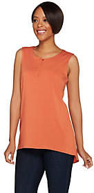 Halston H by V-Neck Button Front Tank