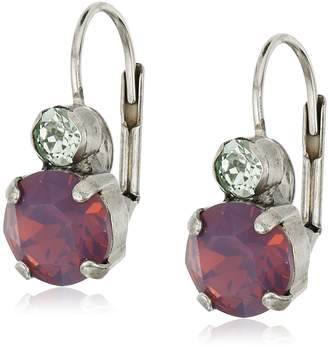 """Sorrelli African Violet"""" Round Crystal French Wire Drop Earrings"""
