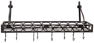 Old Dutch Matte Black Medium Gauge Wall Mount Bookshelf Pot Rack with 8 Hooks