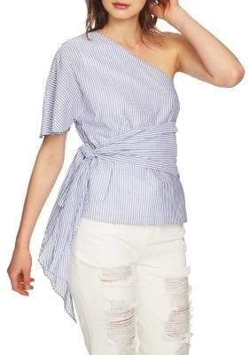 1 STATE 1.STATE April Wrap Waist One-Shoulder Cotton Blouse