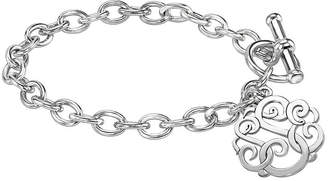 JCPenney FINE JEWELRY Personalized Sterling Silver 20mm Monogram Script Charm Bracelet