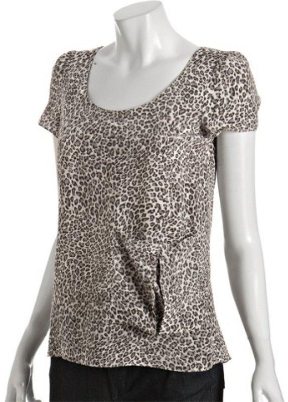 Gemma grey leopard 'Bia' silk scoopneck pleated blouse
