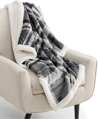 """Martha Stewart Collection Plaid Reversible 50"""" x 60"""" Classic Sherpa Throw, Created for Macy's Bedding"""