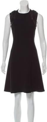 Ralph Lauren Leather-Trimmed Wool Dress Black Leather-Trimmed Wool Dress
