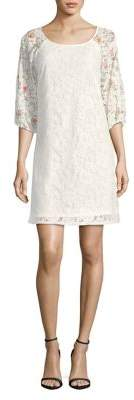 Gabby Skye Lace Quarter-Sleeve Shift Dress