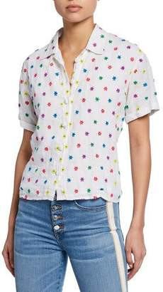 All Things Mochi Nora Floral Embroidered Button-Front Short-Sleeve Linen Shirt