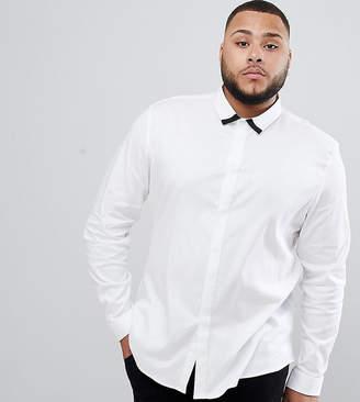Asos Design DESIGN plus slim twill shirt with collar contrast detail in white