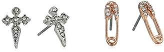 Betsey Johnson Women's Safety Pin and Cross Stud Earrings Set
