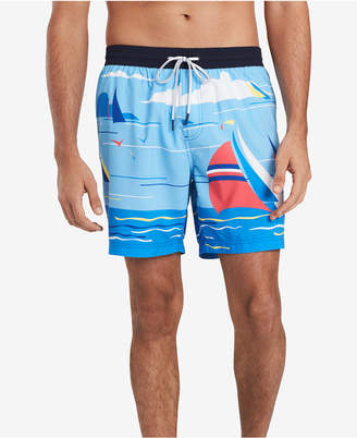 Tommy Hilfiger Men Sailboat Graphic Swim Trunks