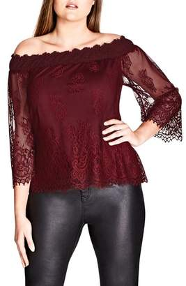 City Chic Soft Lace Off the Shoulder Top