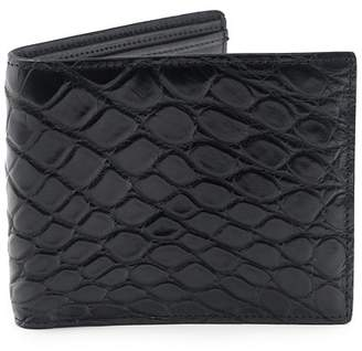 Fiona's Collection Black Crocodile Leather Bi-Fold Wallet