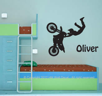 H&M Wall Decal Personalised Name with Dirt Bike Wall Sticker set