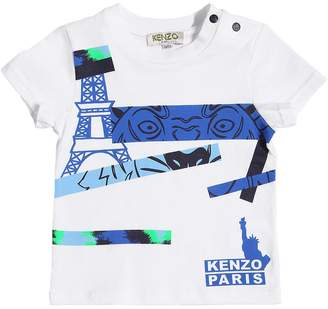 Kenzo Paris Logo Printed Cotton Jersey T-Shirt