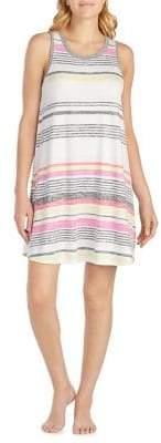 Kensie Mixed-Stripe Round-Hem Chemise