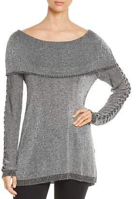Heather B Lattice-Sleeve Sweater