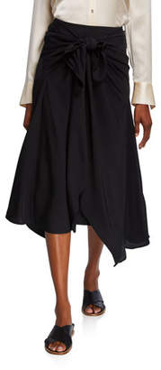 Vince Tie Front Asymmetric Midi Skirt