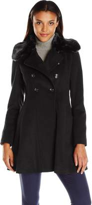 Via Spiga Women's Wool Fit and Flare Double Breasted Coat