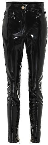 High-waisted skinny vinyl pants
