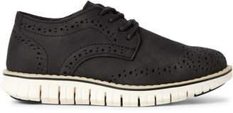 Steve Madden Kids Boys) Black Mat Brogue Derby Shoes