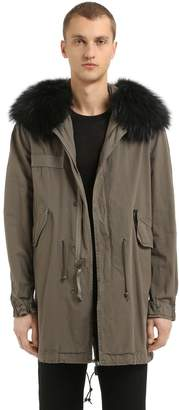 Mr & Mrs Italy Cotton Canvas Parka W/ Fur Trim