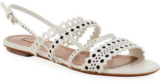 Alaia Flat Laser-Cut Chamois Slingback Sandals
