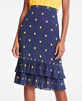 Ann Taylor Tall Polka Dot Pleated Pencil Skirt