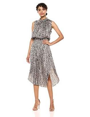 Halston Women's Sleeveless V-Neck Smocked Waist Printed Maxi