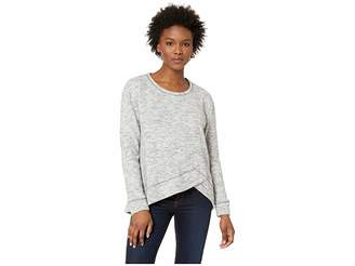 Mod-o-doc Warm and Cozy Sweater Crew Neck Pullover with Overlapped Hem