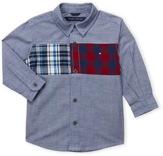 Tommy Hilfiger Infant Boys) Flannel Panel Chambray Shirt