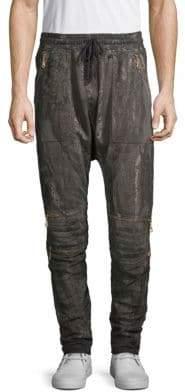 Printed Cotton Fleece Jogger Pants