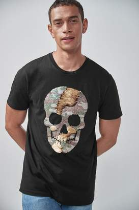 Next Mens Black Reversible Sequin Skull T-Shirt - Black