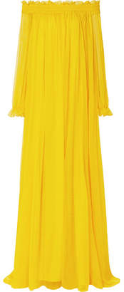 Ruffled Off-the-shoulder Silk-crepon Gown - Marigold