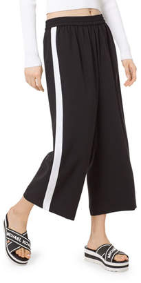 MICHAEL Michael Kors Side Striped Cropped Wide-Leg Pants