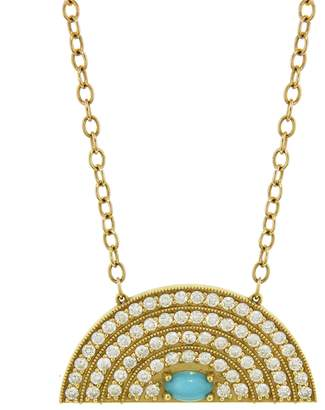 Andrea Fohrman Medium Diamond and Turquoise Rainbow Necklace - Yellow Gold