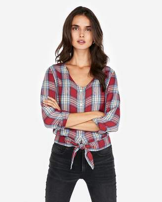 Express Plaid Tie Front Long Sleeve Shirt