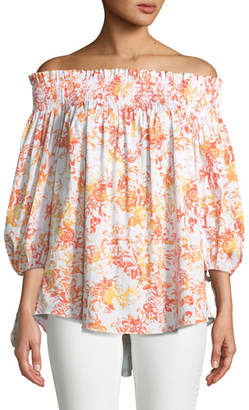 Caroline Constas Lou Off-the-Shoulder Floral-Print Cotton Top