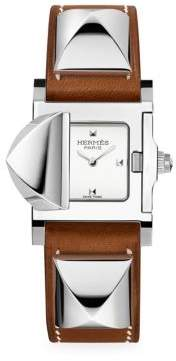 Hermes Medor, Stainless Steel& Leather Strap Watch